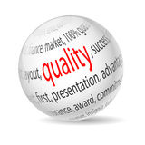 Quality. Illustration  ball with inscription quality, on white background Royalty Free Stock Images