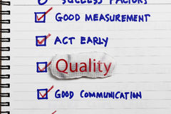 Quality. Choice for a survey - concept for company goals and policy Royalty Free Stock Photo