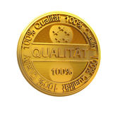 Quality. Gold 3d 100 percent quality-reliability metal exchange money abstract stock illustration