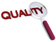 Quality. Magnifying glass over the word Quality Royalty Free Stock Photo