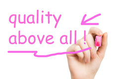 Quality above all pink marker Royalty Free Stock Photo