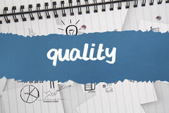 Quality against brainstorm doodles on notepad paper Royalty Free Stock Photo