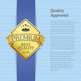 Quality Approved Premium Gold Label Emblem Sticker. Quality approved premium golden label guarantee sticker award, vector illustration certificate poster Royalty Free Stock Image
