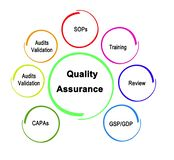 Quality Assurance. Seven Components of Quality Assurance stock illustration