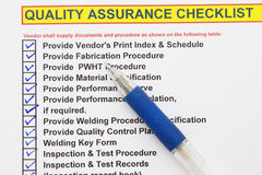 Quality assurance checklist Stock Photography