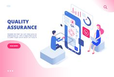 Quality assurance concept. Assured result productive decision analysis inspection software fixing bug system testing. Vector web page. Illustration of quality vector illustration