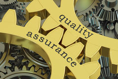 Quality Assurance concept on the gearwheels, 3D rendering. Quality Assurance concept on the gearwheels Stock Photo