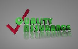 Quality assurance graphics. Green 3D text graphics quality assurance with red check mark Stock Photography