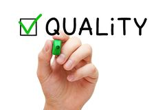 Quality Assurance Green Check Mark Concept stock image