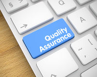 Quality Assurance - Message on Blue Keyboard Keypad. 3D. Metallic Keyboard Button Showing the MessageQuality Assurance. Message on Keyboard Blue Key. Close-Up Royalty Free Stock Image