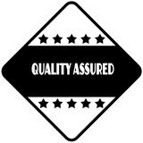 QUALITY ASSURED on black diamond shaped sticker label. Illustration Stock Image