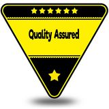 QUALITY ASSURED on black and yellow triangle with shadow. Illustration Royalty Free Stock Photo