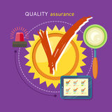 Quality Assured Concept. Quality assured sign grunge rubber stamp on stylish background. Concept in flat design style. Can be used for web banners, marketing and Stock Illustration