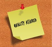 QUALITY ASSURED handwritten on yellow sticky paper note over cork noticeboard background. Illustration Royalty Free Stock Image