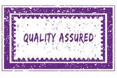 QUALITY ASSURED in magenta grunge square frame stamp. Illustration image Stock Image