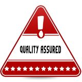 QUALITY ASSURED on red triangle road sign. Illustration Stock Photos