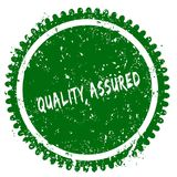 QUALITY ASSURED round grunge green stamp. Illustration concept Royalty Free Stock Photo
