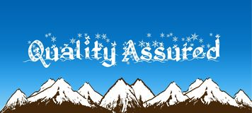 QUALITY ASSURED written with snowflakes on blue sky and snowy mountains background. Illustration Stock Photo