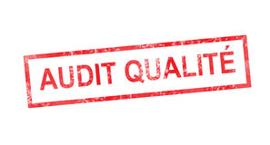 Quality audit in French translation in red rectangular stamp Royalty Free Stock Photo