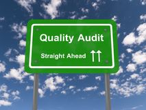 Quality audit straight ahead sign. With directional arrows, blue sky and cloudscape background Stock Photography