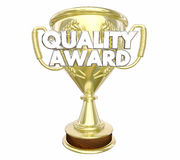 Quality Award Best Top Recommended Trophy Words Royalty Free Stock Photo