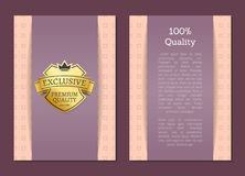 100 Quality Award Exclusive Premium Brand Label. 100 quality award exclusive premium brand gold label approving standard. Golden sticker for products of best royalty free illustration