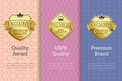 100 Quality Award Premium Brand Gold Labels Set. 100 quality award premium brand golden labels approving standard. Gold stickers for products and stuff. Promo Vector Illustration