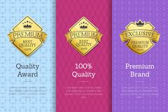 Quality Award Premium Brand Guarantee Certificates. Quality award 100 premium brand guarantee certificates of best products with golden emblems and text isolated Royalty Free Stock Photos