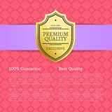Quality Award Premium Brand 100 Seal Label Poster. Quality award premium brand 100 seal golden label with text samples. Warranty sticker with metal guarantee vector illustration