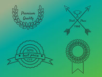 Quality Badges. First quality, premium quality, best price badges set Royalty Free Stock Photography