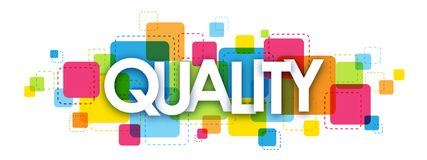 QUALITY banner on colorful background. QUALITY overlapping letters banner on colorful semi-transparent squares background. Vector Stock Illustration