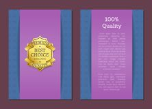 100 Quality Best Choice Exclusive Standard Label. 100 quality best choice exclusive premium standard poster decorated by ribbons, gold seal with black text Royalty Free Stock Images