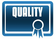 QUALITY blue certificate. Stock Photo
