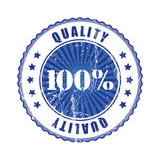 100% and Quality blue Stamp. Blue Stamp of 100% Quality Vector Illustration