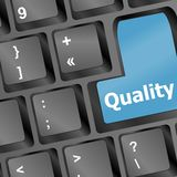 Quality button on computer keyboard - business Royalty Free Stock Photography