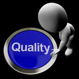 Quality Button Represents Excellent Service Or Products Stock Photo