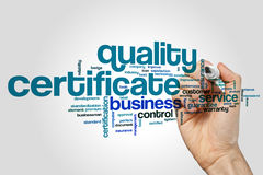 Quality certificate word cloud Stock Images