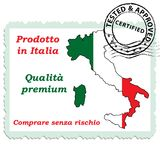 Quality certification stamp designed for the Italian retail market. The text is written in Italian and English. Italian text translation Royalty Free Stock Images