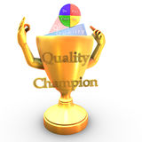 Quality champion cup. A cup character that shows the PDCA deming wheel Stock Images