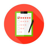 Quality Check Clipboard Flat Circle Icon Stock Image