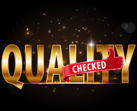 Quality checked golden typography text with thumbs up sign Stock Image