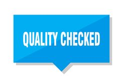 Quality checked price tag. Quality checked blue square price tag royalty free illustration