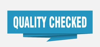 Quality checked. Sign.  paper origami speech bubble.  tag.  banner royalty free illustration