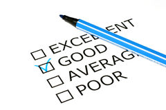 Quality checklist with blue pen. Good vote stock photography