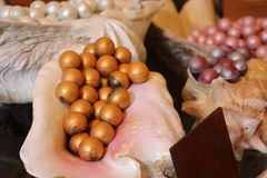 Quality chocolate made by Chocolatier. Quality golden chocolate Homemade from uk made by Chocolatier stock image