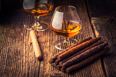 quality cigars and cognac Stock Photo