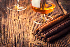 Quality cigars and cognac Stock Photos