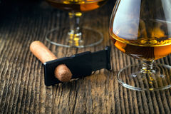 quality cigars and cognac Royalty Free Stock Images