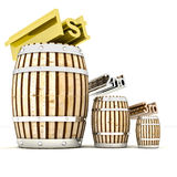 Quality class and three barrels of old wine. Render illustration Stock Photography