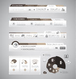 Quality clean web elements for blog and sites. I. Cons, header, carousel, infographics and a lot of icons Stock Photo